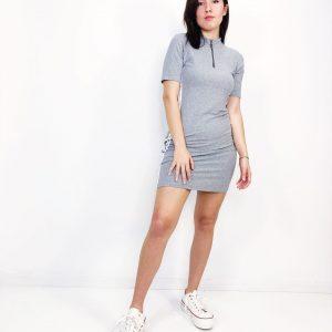 Vestido canalé raya lateral