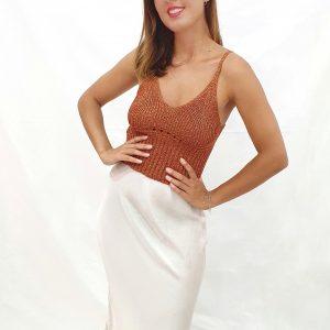 falda de raso midi al bies