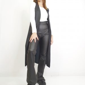 chaqueta de efecto piel de manga sisa