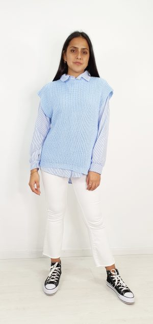 Chaleco de lana lazada lateral