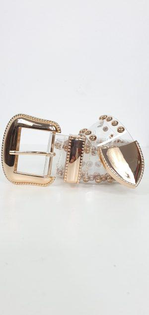 Cinturon transparente tachuelas