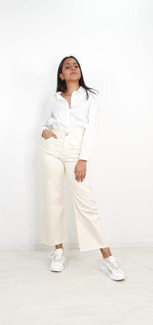 Pantalon pierna ancha cinturilla elástica