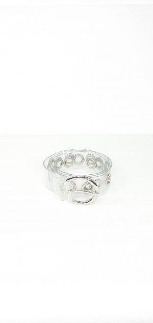 Cinturón transparente anillas.