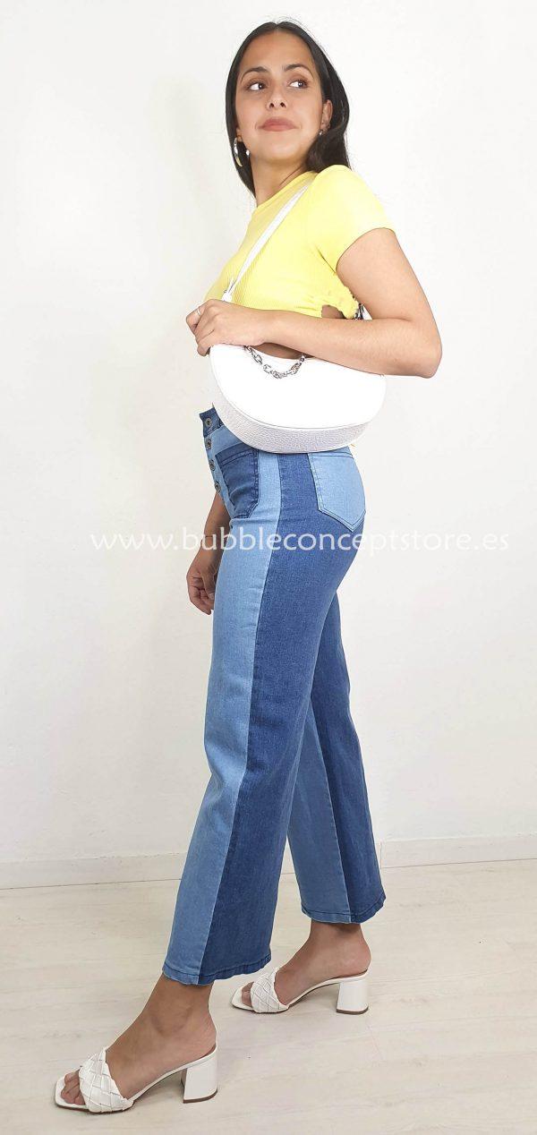 15512JSB Pantalon vaquero bicolor bolsillos