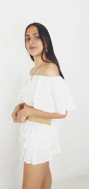312 Crop camisa flores blancas
