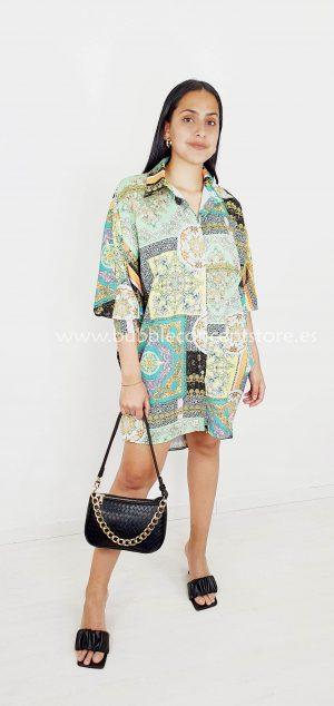 2218 Vestido camisero patchwork