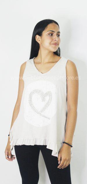 67432 Camiseta corazón circonita