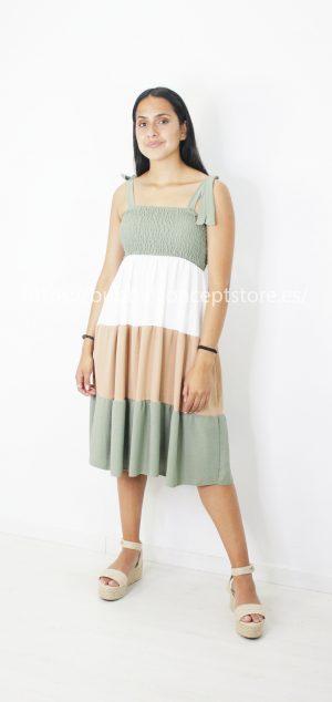 Vestido midi tricolor 10137