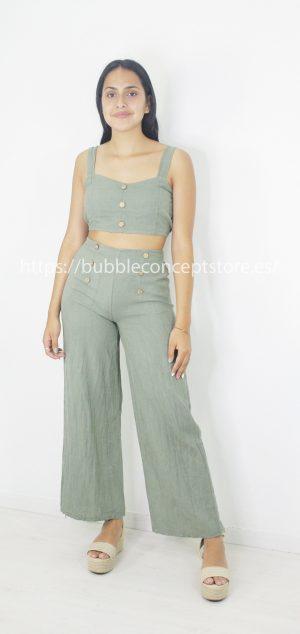 21161 Pantalón lino botones