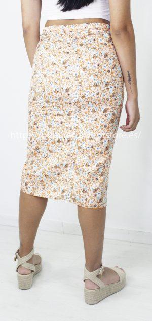5274 Falda midi floral fruncido
