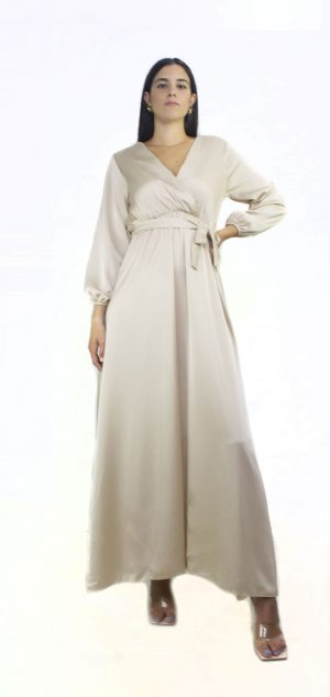 0631 Vestido raso cruzado