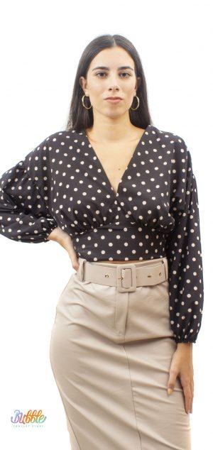 6036 Crop camisa lunares