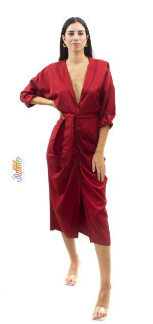 050050 Vestido abotonado solapa