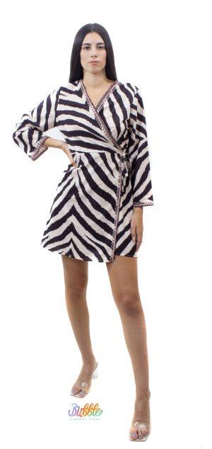 14063 Vestido cebra kimono