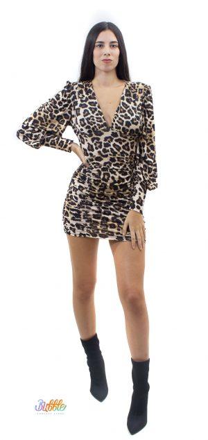 3861 Vestido fruncido leopardo