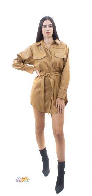 6556 Vestido camisero polipiel